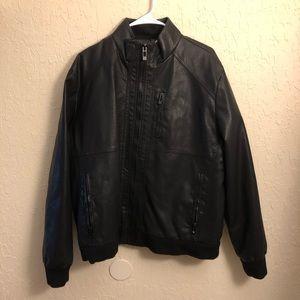 Calvin Klein • Faux Leather Bomber Jacket